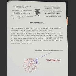 Cameroun : : crise anglophone  (sur la vidéo montrant deux miliaires entrain d'être bastionnés par des populations: le ministère de la défense parle d'une scène tournée hors du pays